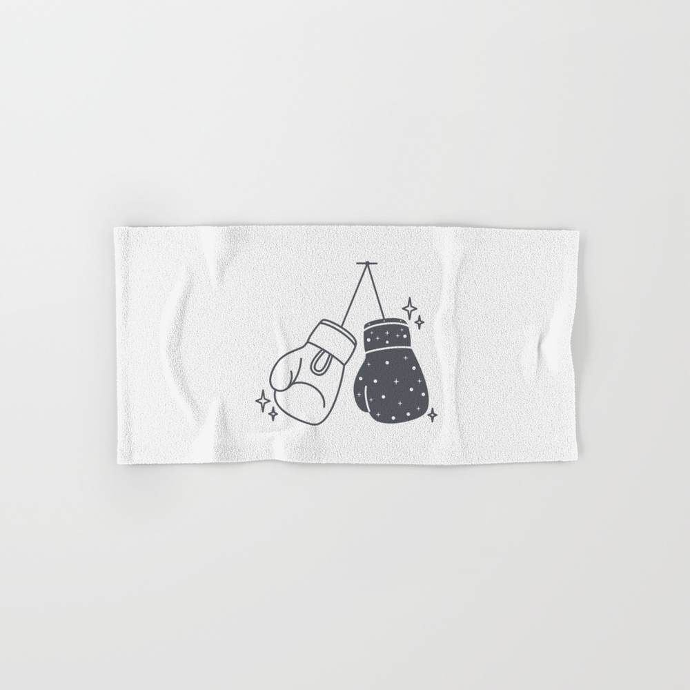 Boxing Gloves Night And Day Hand Towel by Roc21 BTL8557888