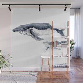 Humpback whale with calf Wall Mural