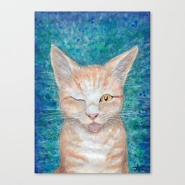 """;P ~ """"Seb the Groovy Cat"""" by Amber Marine ~ Watercolor & Acrylic Painting, (Copyright 2016) Canvas Print"""