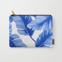 Blue Tropical Leaves Print Carry-All Pouch