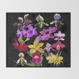 Orchids Galore Throw Blanket