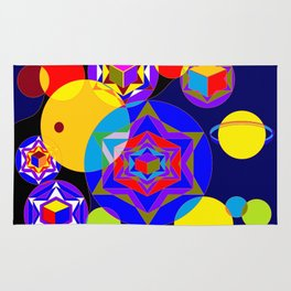 A Galaxy of Stars, Cubes and Planets Rug