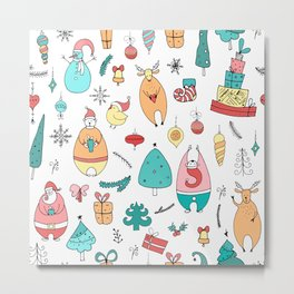 Cute Colorful Cartoon Christmas Animals Pattern Metal Print