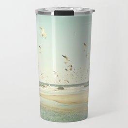 Birds on Beach Photography, Seagulls Flying Coastal Photo, Teal Bird Ocean Picture, Turquoise Aqua Travel Mug