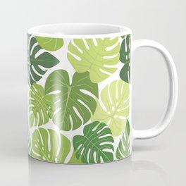 Monstera Leaves Pattern (white background) Coffee Mug