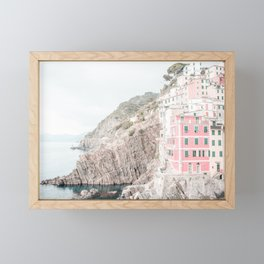 Positano, Italy pink-peach-white travel photography in hd. Framed Mini Art Print