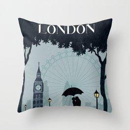 London vintage poster travel Throw Pillow