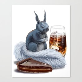 Iced coffee, salted caramel chocolate tart, and kaibab squirrel Canvas Print