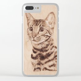 Bengal Cat Portrait - Drawing by Burning on Wood - Pyrography art Clear iPhone Case