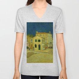 Vincent Van Gogh - The Yellow House Unisex V-Neck