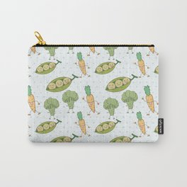 Cute funny greens orange blue polka dots vegetables Carry-All Pouch