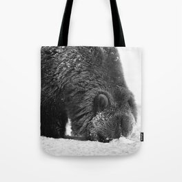 Alaskan Grizzly Bear in Snow, B & W - 2 Tote Bag