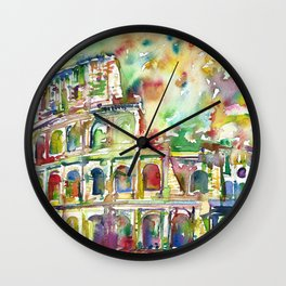 COLOSSEUM - watercolor painting Wall Clock