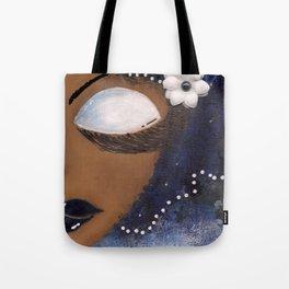 Blue and White Sassy Girl  Tote Bag