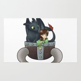 Hiccup and Toothless in a Helmet Rug