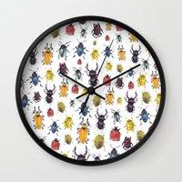 bugs Wall Clocks featuring Bugs by Marina Eiro