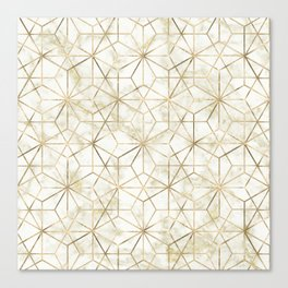 Modern gold and marble geometric star flower image Canvas Print