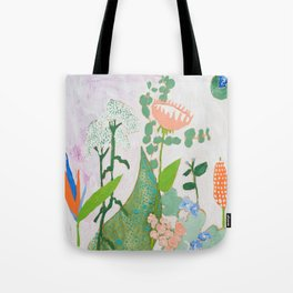 Multi Floral Painting on Pink and White Background Tote Bag