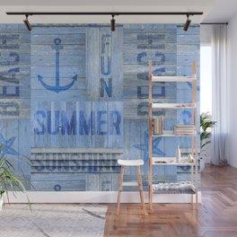 Blue Summer Beach Wood Wall Mural