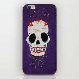 Azure Sugar Skull iPhone Skin