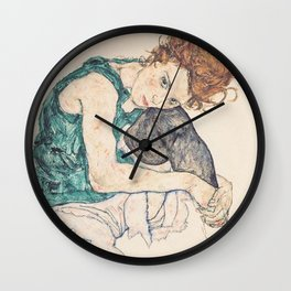 SEATED WOMAN WITH BENT KNEE - EGON SCHIELE Wall Clock