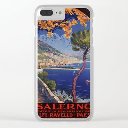 Salerno Italy vintage summer travel ad Clear iPhone Case