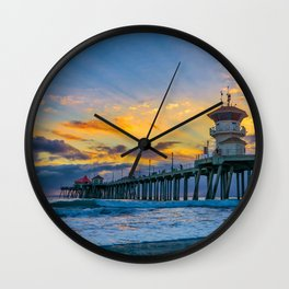 Colors Over Huntington Pier at Sunset Wall Clock