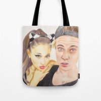 ariana grande Tote Bags featuring Ariana and Justin by Share_Shop
