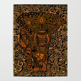 Aztec Elephant With Floral Pattern Poster
