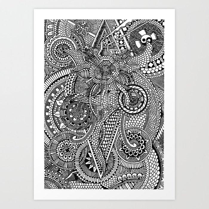 abstract fullpage doodle art print by christophlovesdrawing society6