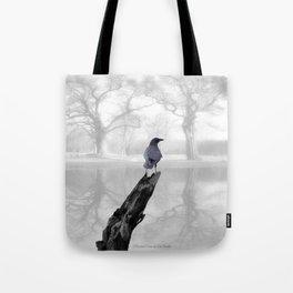 Crow On Misty Pond A114 Tote Bag