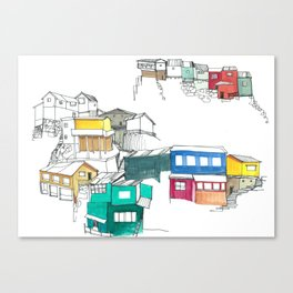 Rainbow Colored Houses of Chile Canvas Print