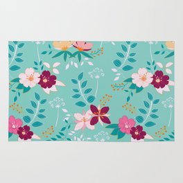 Exotic Flower Pattern Rug