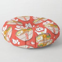 Liter of Ramen. Japanese soup and Manekineko cat. Floor Pillow