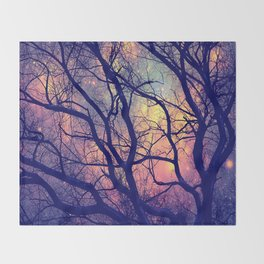 Black Trees Deep Pastels Space Throw Blanket