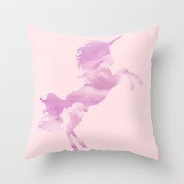Pink Sky Unicorn Throw Pillow