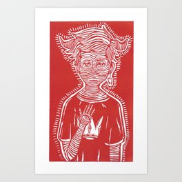 Evil Boy (red) Art Print