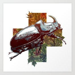 Rhinoceros beetle on the cross Art Print