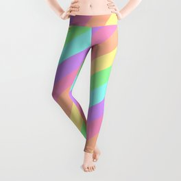 Pastel Rainbow Diagonal Stripes Leggings