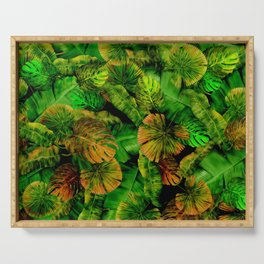 Tropical Leaf Random Pattern Painting Serving Tray