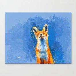 Happy Fox on blue background, inspirational animal art Canvas Print