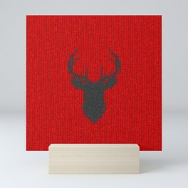 Antiallergenic Hand Knitted Deer Winter Wool Texture - Mix & Match with Simplicty of life Mini Art Print