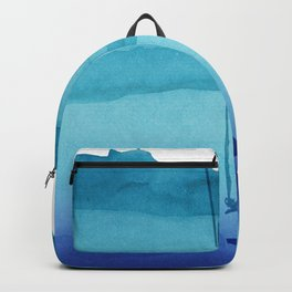 Cute Sinking Anchor in Sea Blue Watercolor Backpack