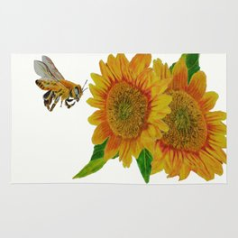 Summer Bee Yellow Sunflower Painting Rug