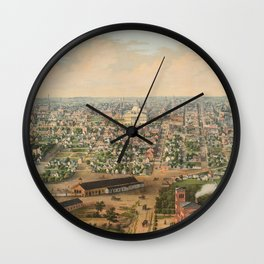 Vintage Pictorial Map of Columbus OH (1867) Wall Clock