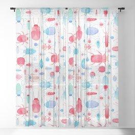 Watercolor Beetles Sheer Curtain