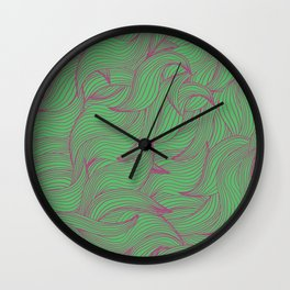 Abstract coorful pattern with leaves Wall Clock