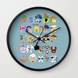 Breakfast Mascot Alphabet Wall Clock