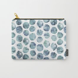 Pale Indigo Watercolor Dots Carry-All Pouch