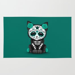 Cute Teal Blue Day of the Dead Kitten Cat Rug